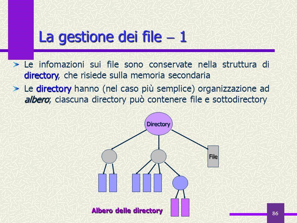La gestione dei file  1 Le infomazioni sui file sono conservate nella struttura di directory, che risiede sulla memoria secondaria.