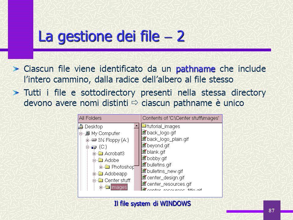 Il file system di WINDOWS