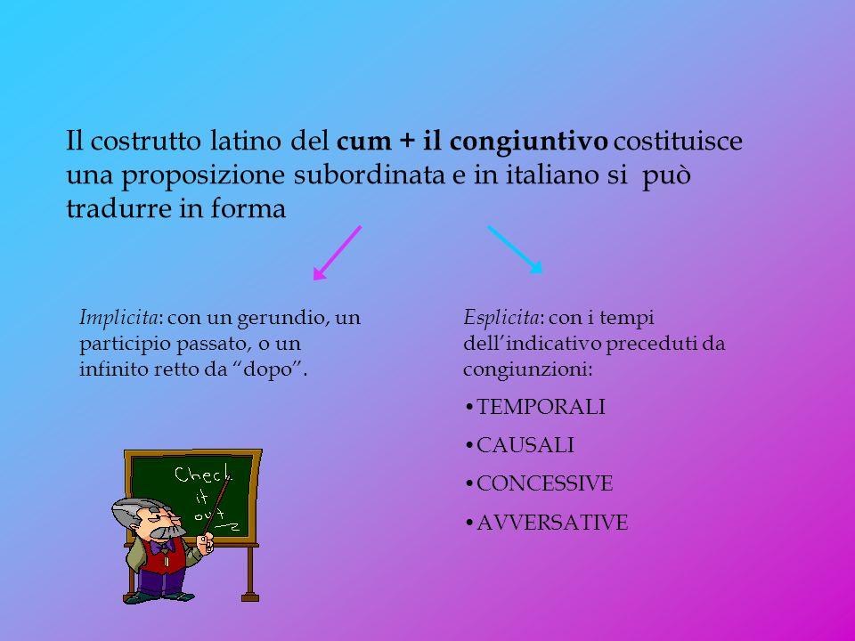 Il costrutto latino del cum + il congiuntivo costituisce una proposizione subordinata e in italiano si può tradurre in forma