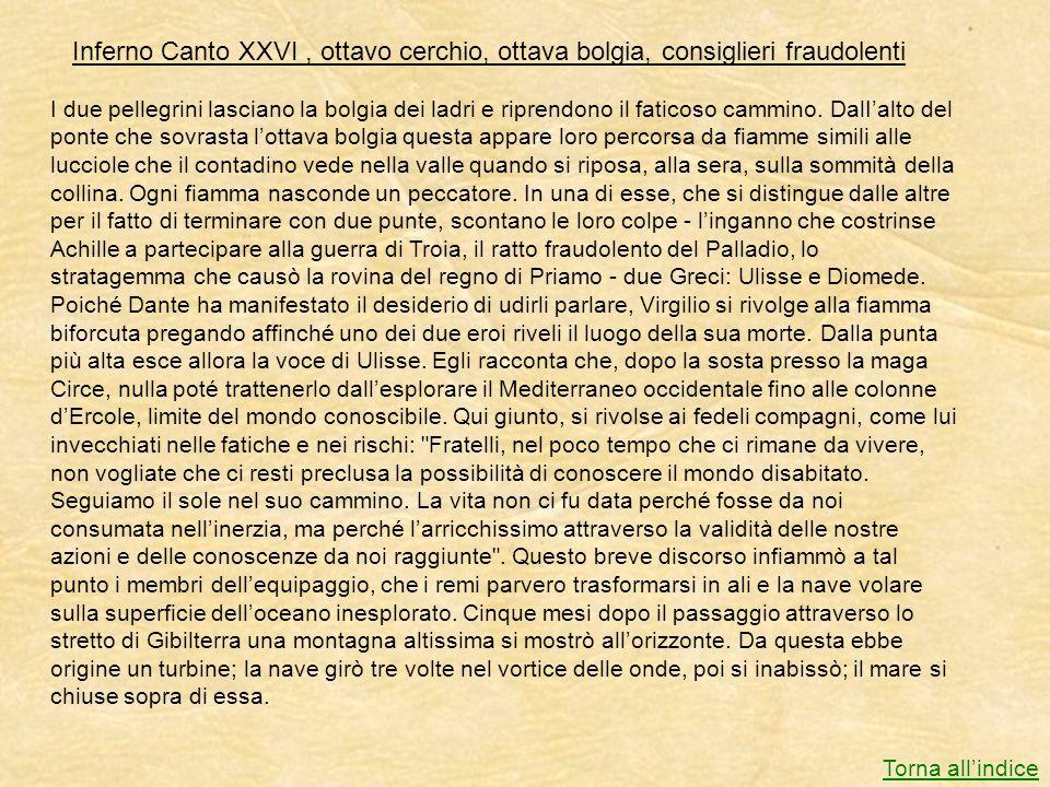 Inferno Canto XXVI , ottavo cerchio, ottava bolgia, consiglieri fraudolenti