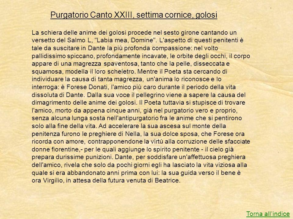 Purgatorio Canto XXIII, settima cornice, golosi