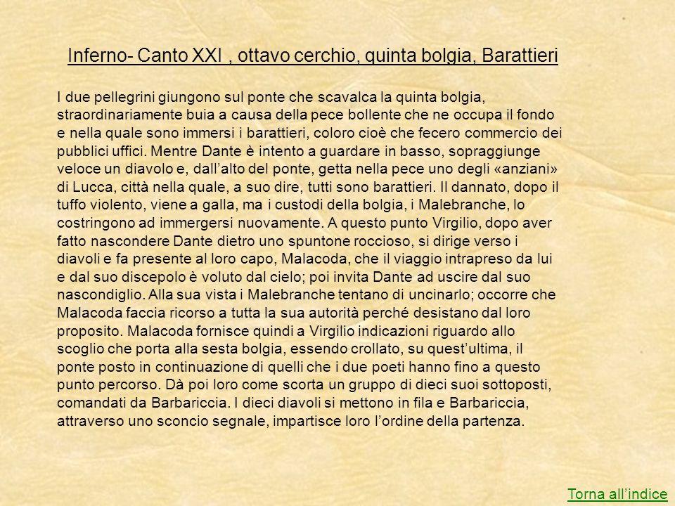 Inferno- Canto XXI , ottavo cerchio, quinta bolgia, Barattieri