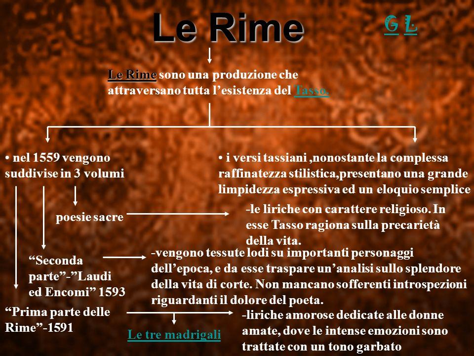 Le Rime G. L. Le Rime sono una produzione che attraversano tutta l'esistenza del Tasso. nel 1559 vengono suddivise in 3 volumi.