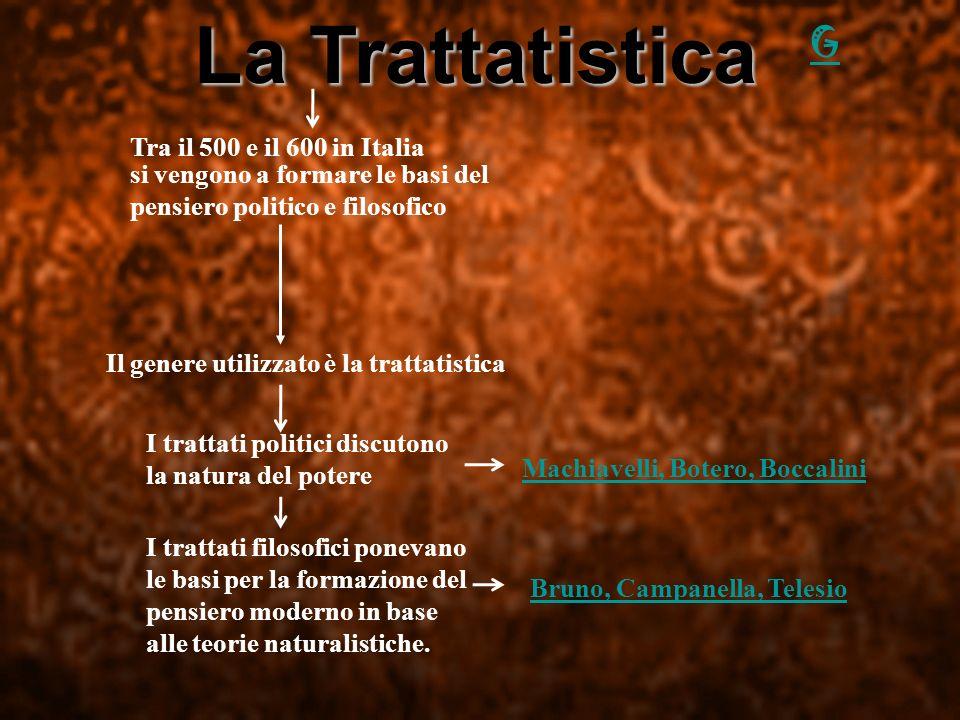 La Trattatistica G Tra il 500 e il 600 in Italia