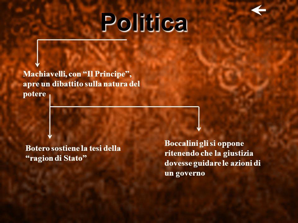 Politica Machiavelli, con Il Principe , apre un dibattito sulla natura del potere.