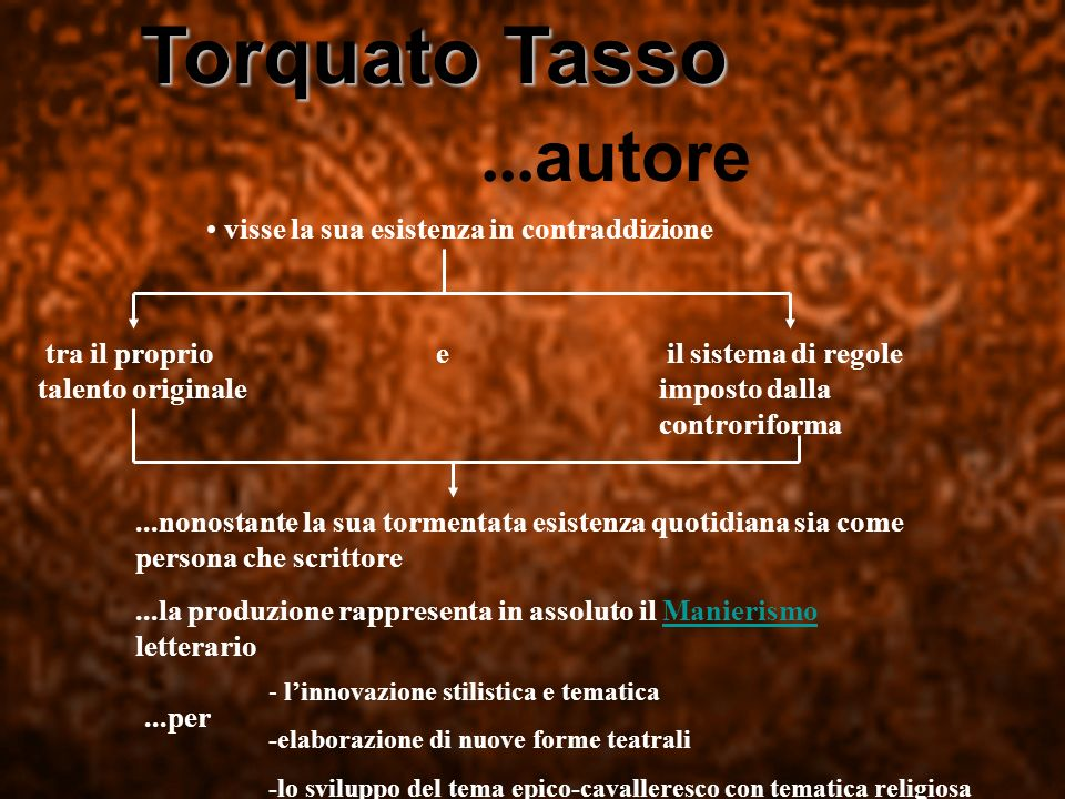 Torquato Tasso ...autore visse la sua esistenza in contraddizione