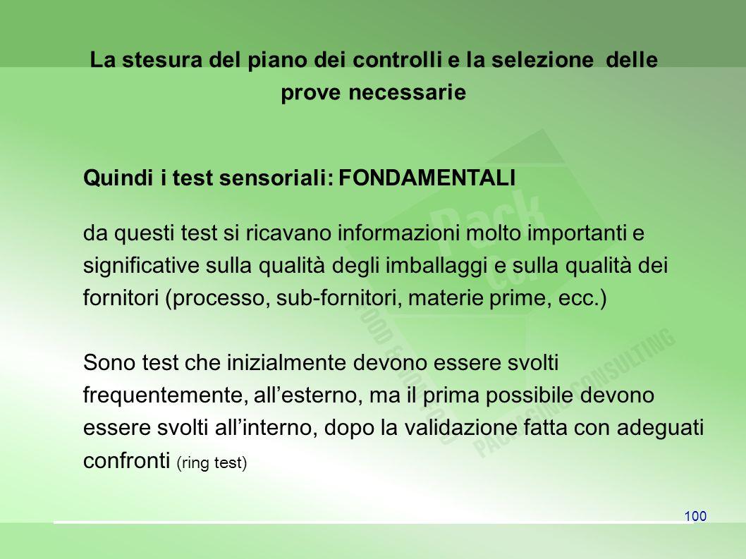 Quindi i test sensoriali: FONDAMENTALI