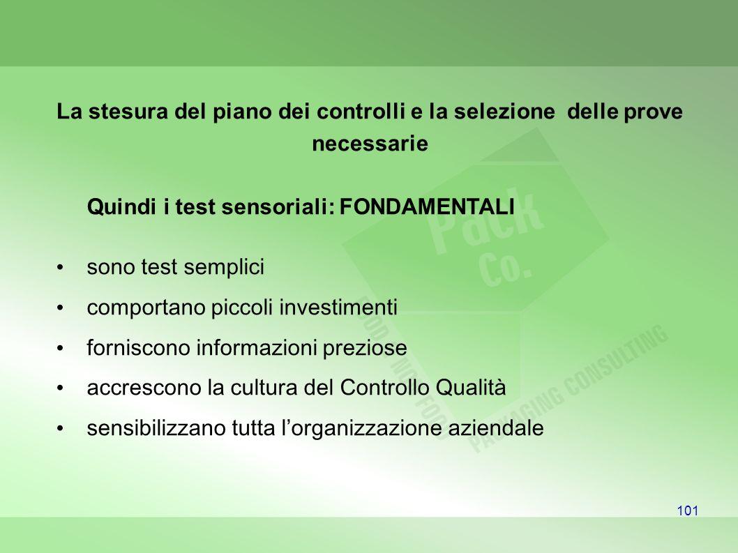 Quindi i test sensoriali: FONDAMENTALI sono test semplici