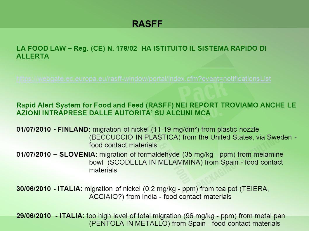RASFF LA FOOD LAW – Reg. (CE) N. 178/02 HA ISTITUITO IL SISTEMA RAPIDO DI ALLERTA.