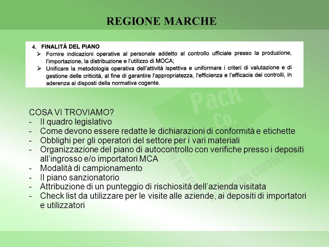 REGIONE MARCHE COSA VI TROVIAMO Il quadro legislativo