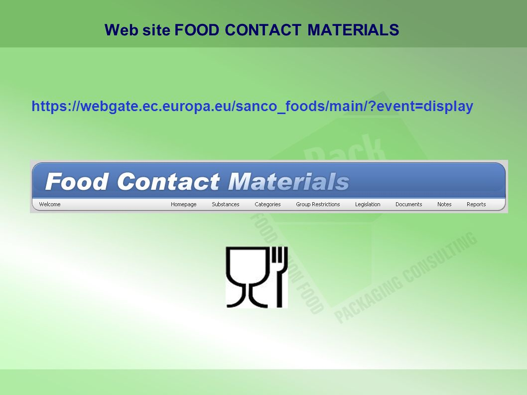 Web site FOOD CONTACT MATERIALS