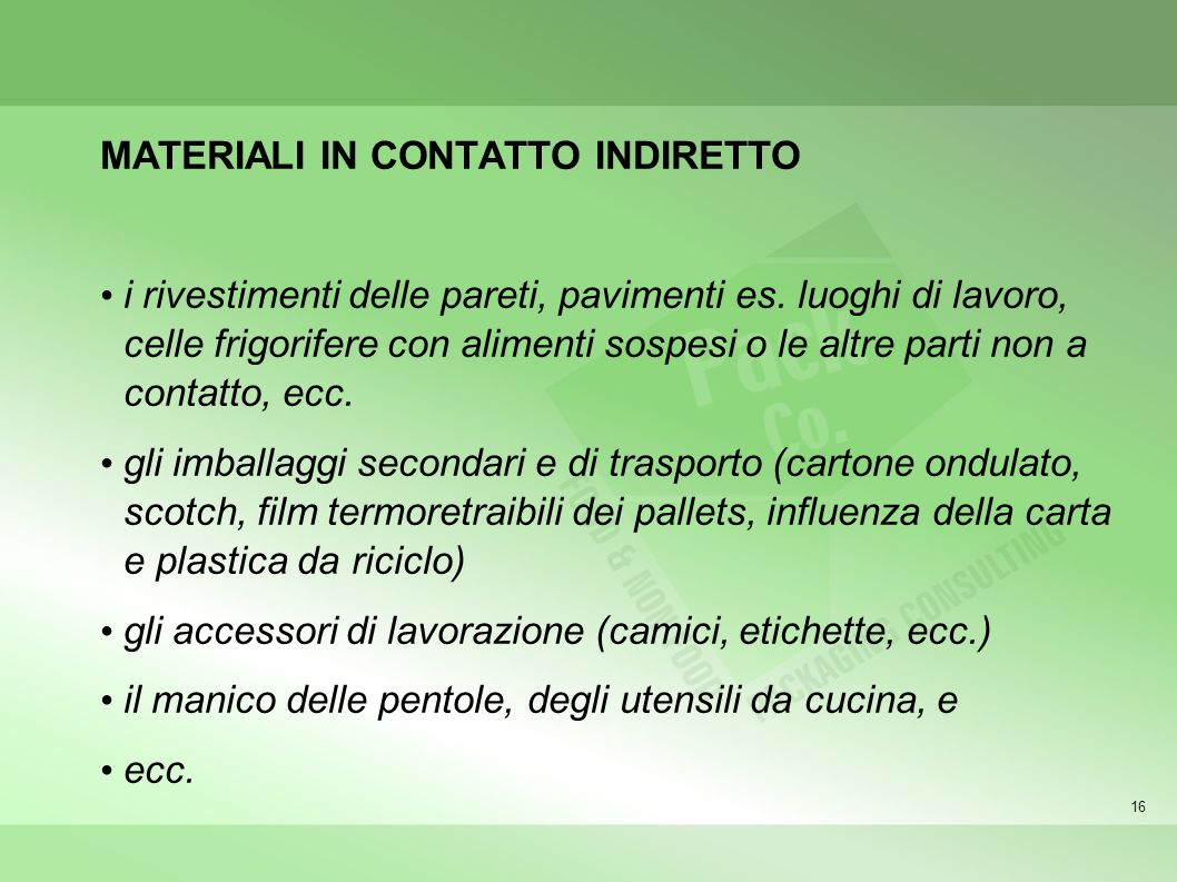 MATERIALI IN CONTATTO INDIRETTO