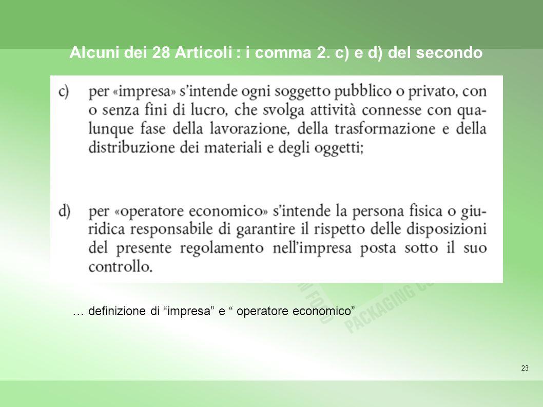 Alcuni dei 28 Articoli : i comma 2. c) e d) del secondo