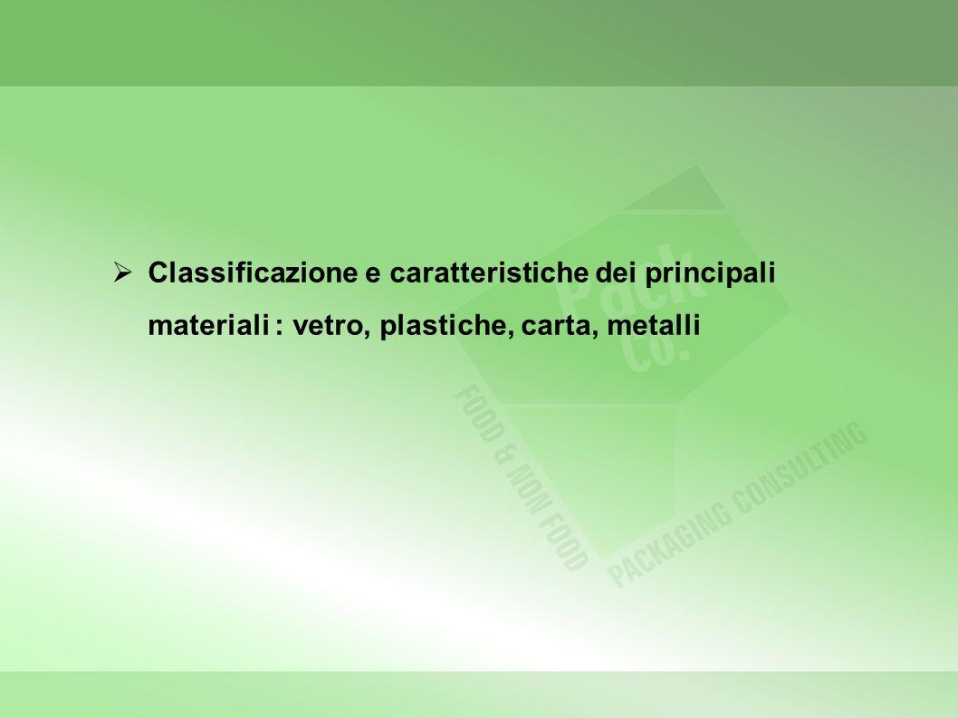 Classificazione e caratteristiche dei principali materiali : vetro, plastiche, carta, metalli
