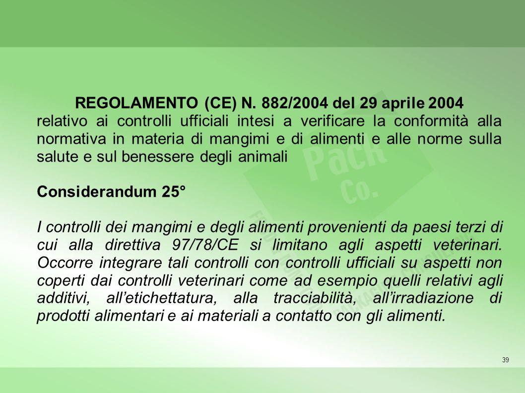 REGOLAMENTO (CE) N. 882/2004 del 29 aprile 2004