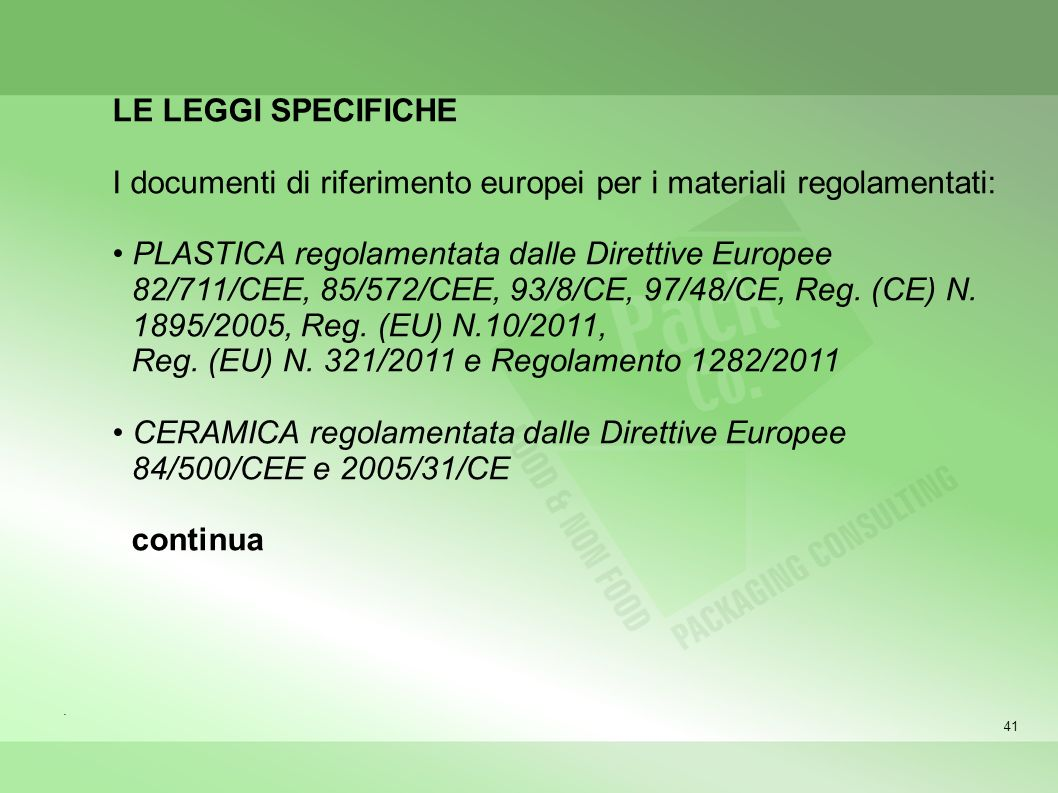 I documenti di riferimento europei per i materiali regolamentati: