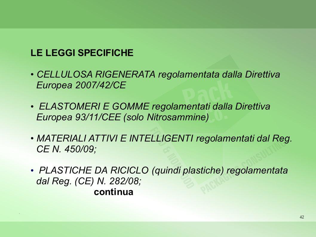 • MATERIALI ATTIVI E INTELLIGENTI regolamentati dal Reg. CE N. 450/09;