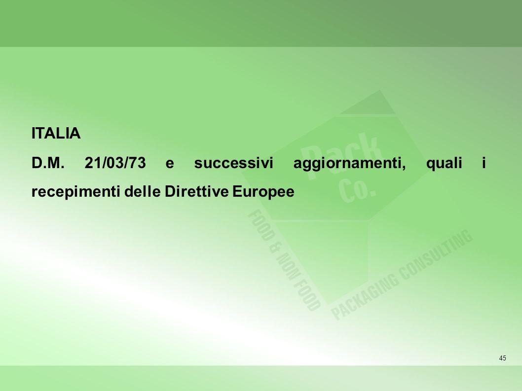 ITALIA D.M. 21/03/73 e successivi aggiornamenti, quali i recepimenti delle Direttive Europee 45 45