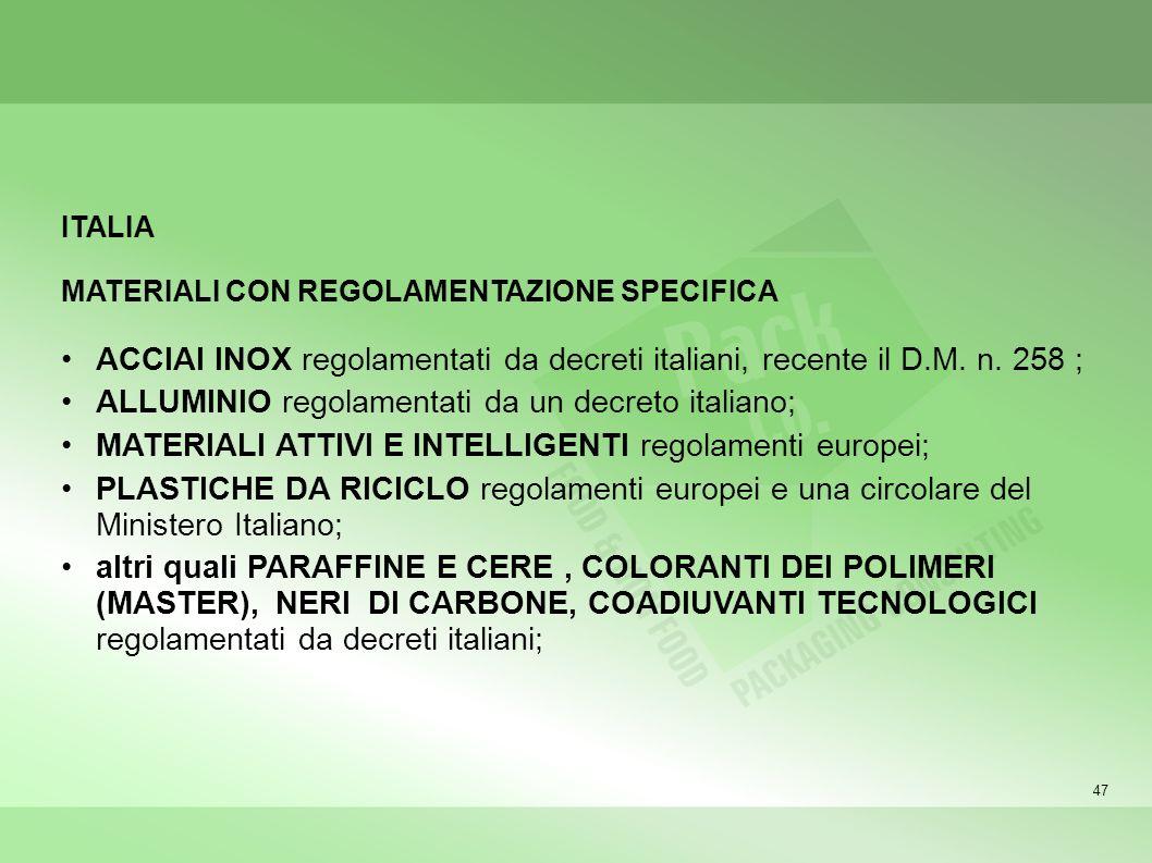ALLUMINIO regolamentati da un decreto italiano;