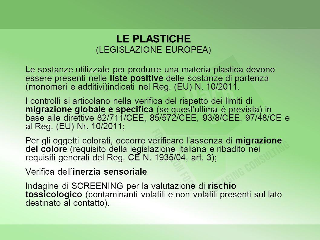 LE PLASTICHE (LEGISLAZIONE EUROPEA)