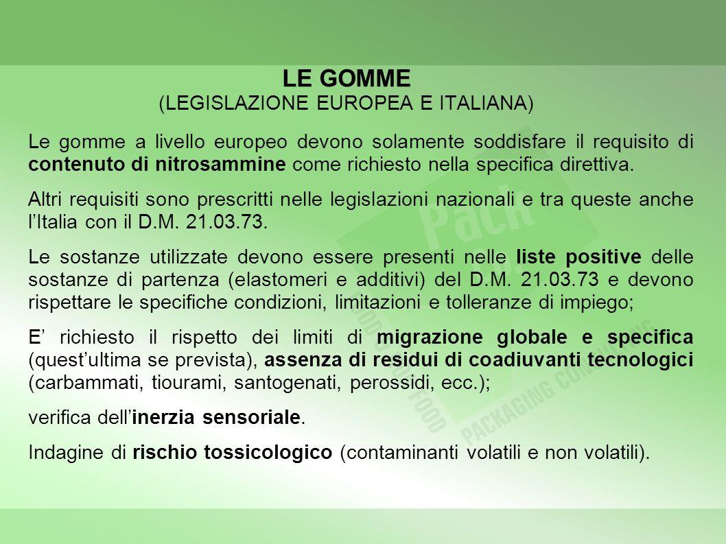 LE GOMME (LEGISLAZIONE EUROPEA E ITALIANA)