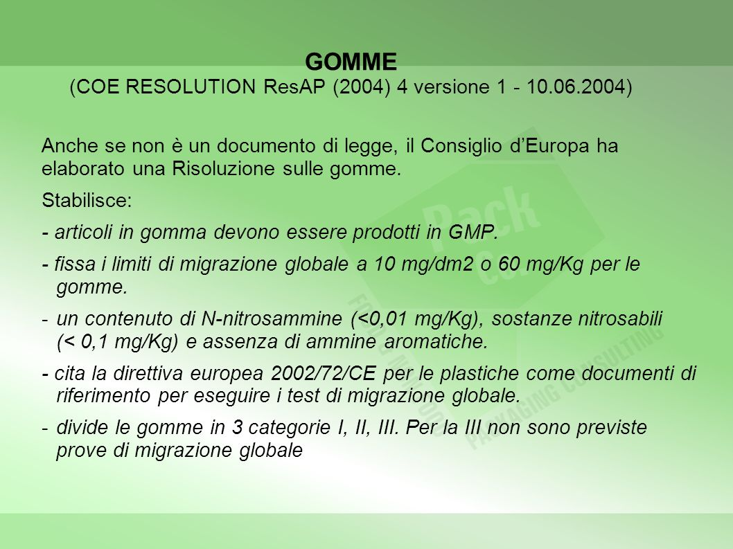 GOMME (COE RESOLUTION ResAP (2004) 4 versione 1 - 10.06.2004)
