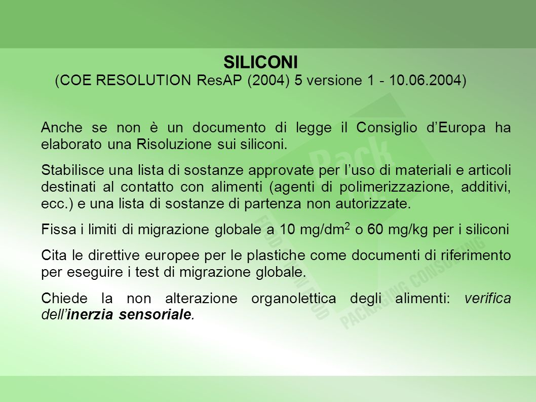 SILICONI (COE RESOLUTION ResAP (2004) 5 versione 1 - 10.06.2004)
