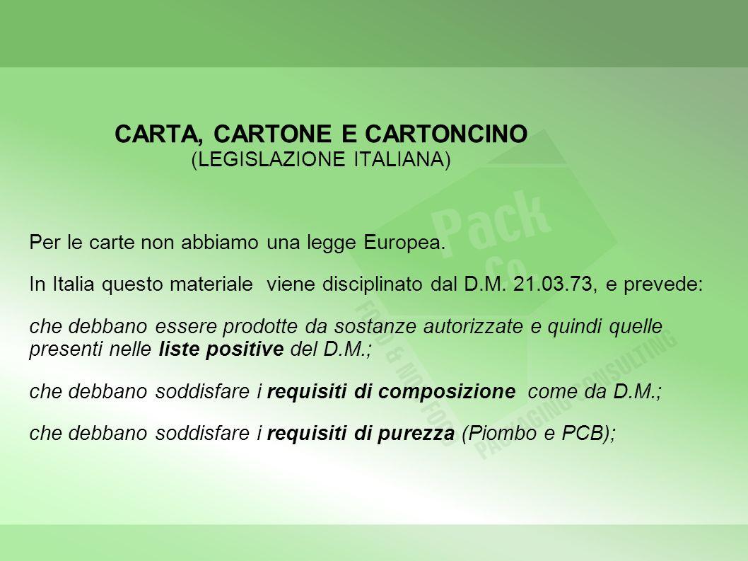 CARTA, CARTONE E CARTONCINO (LEGISLAZIONE ITALIANA)