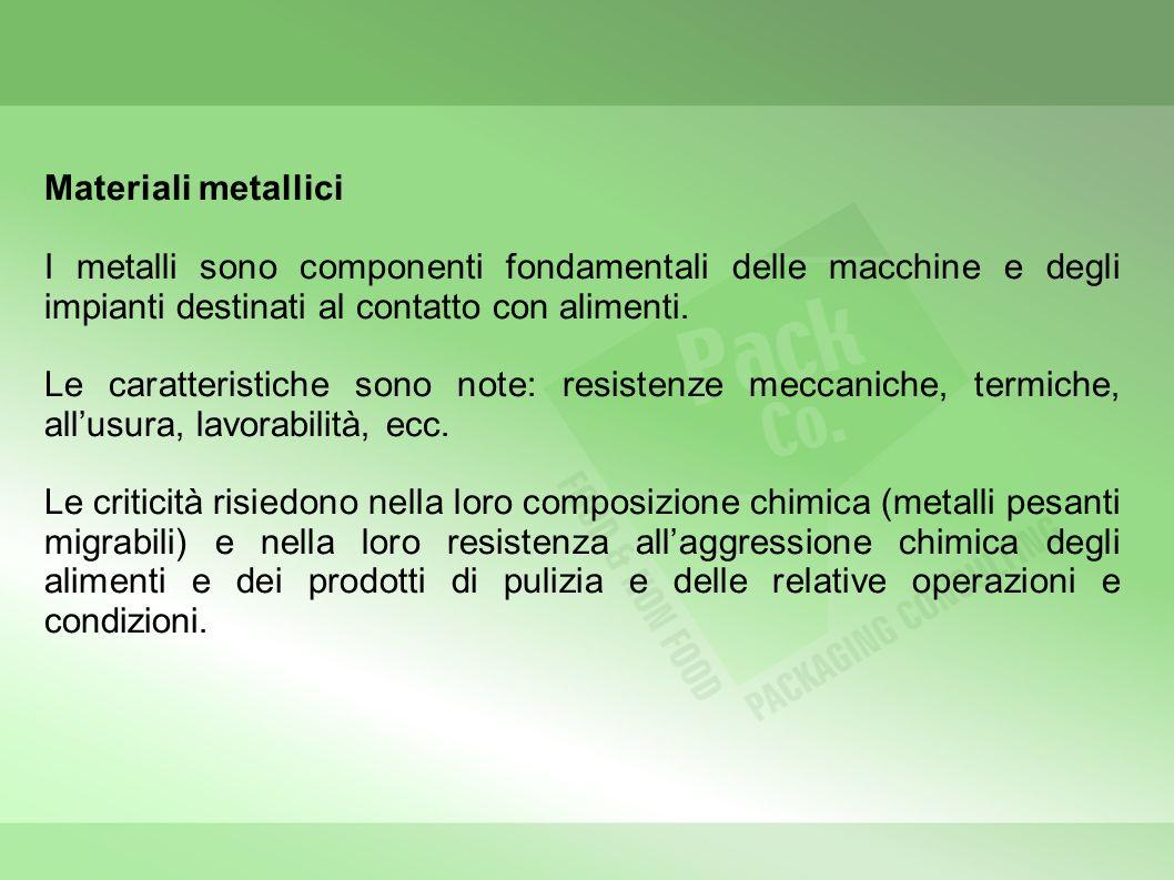 Materiali metallici I metalli sono componenti fondamentali delle macchine e degli impianti destinati al contatto con alimenti.