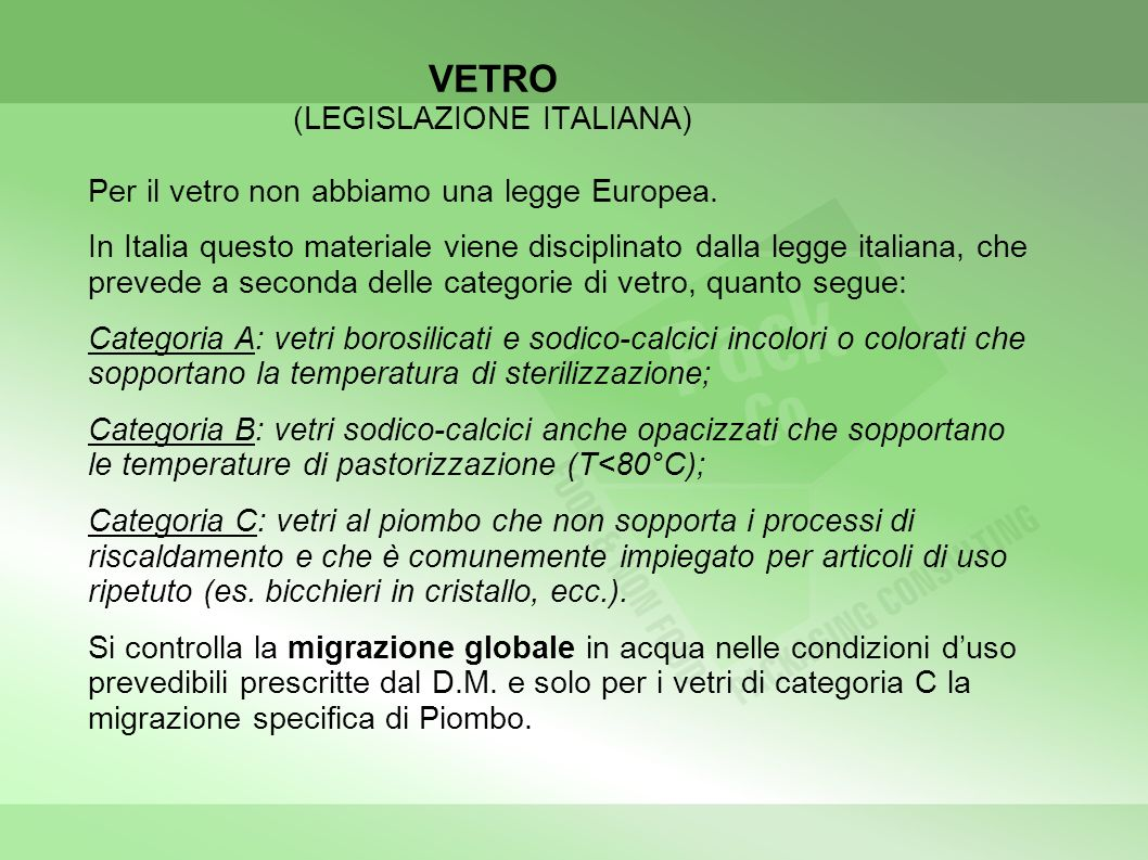 VETRO (LEGISLAZIONE ITALIANA)
