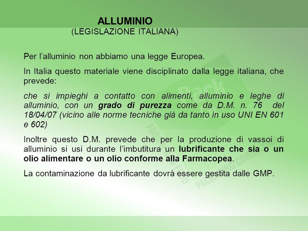 ALLUMINIO (LEGISLAZIONE ITALIANA)