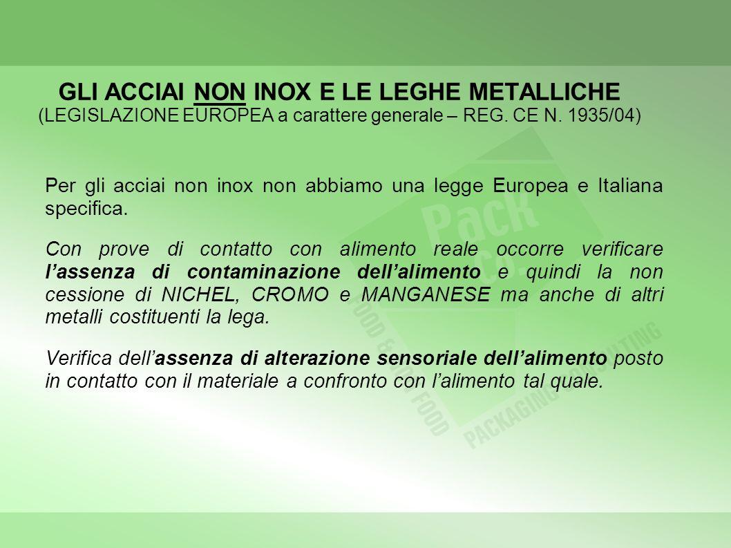 GLI ACCIAI NON INOX E LE LEGHE METALLICHE (LEGISLAZIONE EUROPEA a carattere generale – REG. CE N. 1935/04)