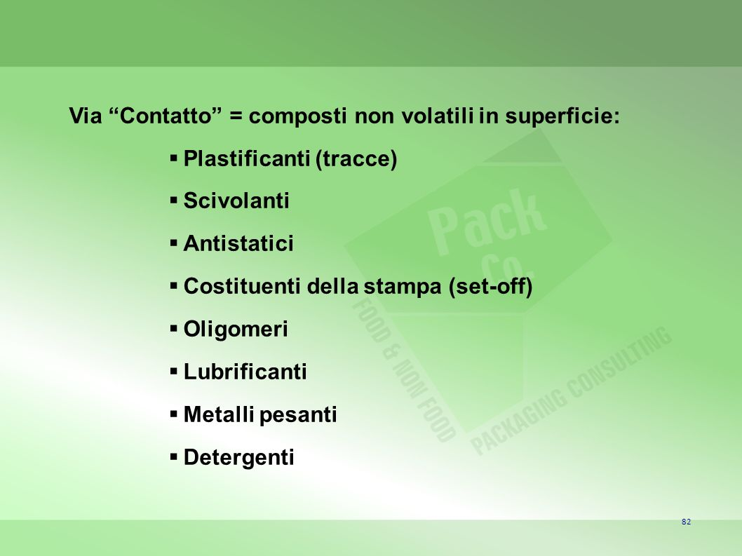 Via Contatto = composti non volatili in superficie: