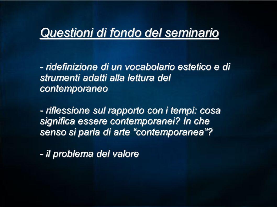 Questioni di fondo del seminario