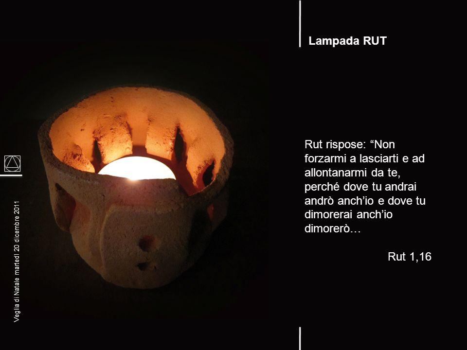 Lampada RUT Rut rispose: Non forzarmi a lasciarti e ad allontanarmi da te, perché dove tu andrai andrò anch'io e dove tu dimorerai anch'io dimorerò…