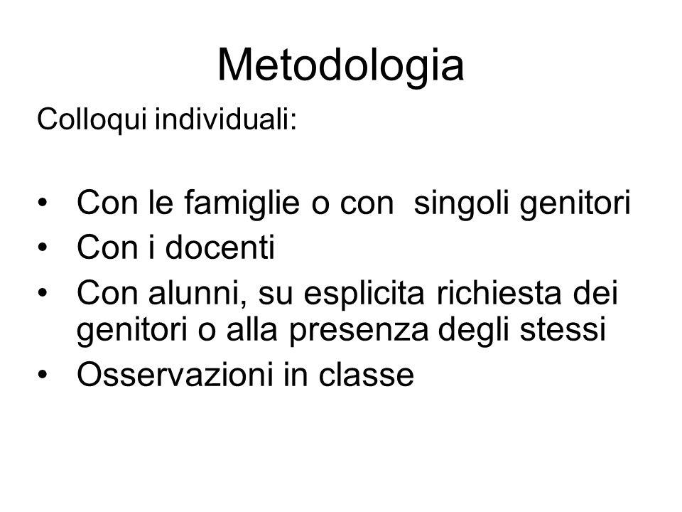 Metodologia Con le famiglie o con singoli genitori Con i docenti