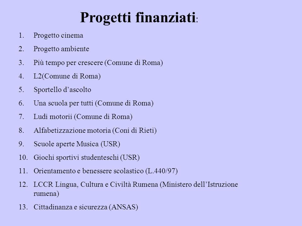 Progetti finanziati: Progetto cinema Progetto ambiente
