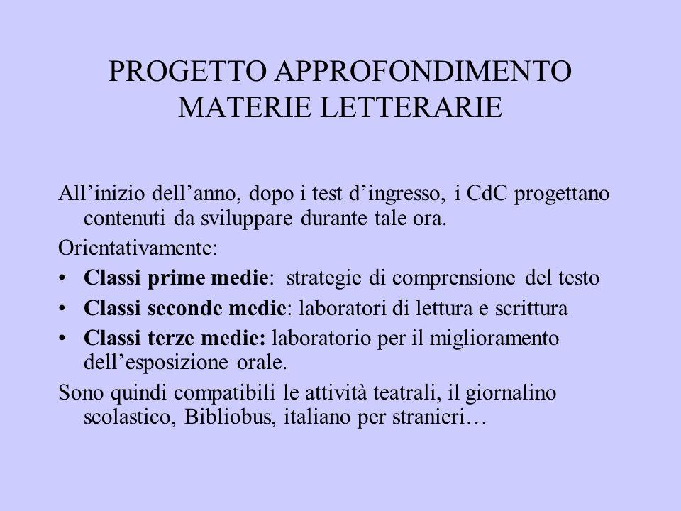 PROGETTO APPROFONDIMENTO MATERIE LETTERARIE