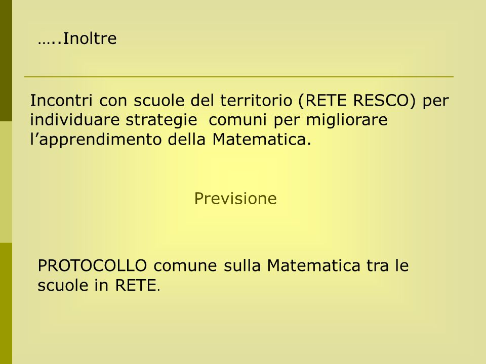 …..Inoltre Incontri con scuole del territorio (RETE RESCO) per individuare strategie comuni per migliorare l'apprendimento della Matematica.