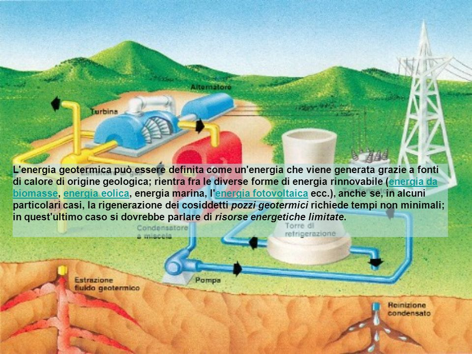 L energia geotermica può essere definita come un energia che viene generata grazie a fonti di calore di origine geologica; rientra fra le diverse forme di energia rinnovabile (energia da biomasse, energia eolica, energia marina, l energia fotovoltaica ecc.), anche se, in alcuni particolari casi, la rigenerazione dei cosiddetti pozzi geotermici richiede tempi non minimali; in quest ultimo caso si dovrebbe parlare di risorse energetiche limitate.