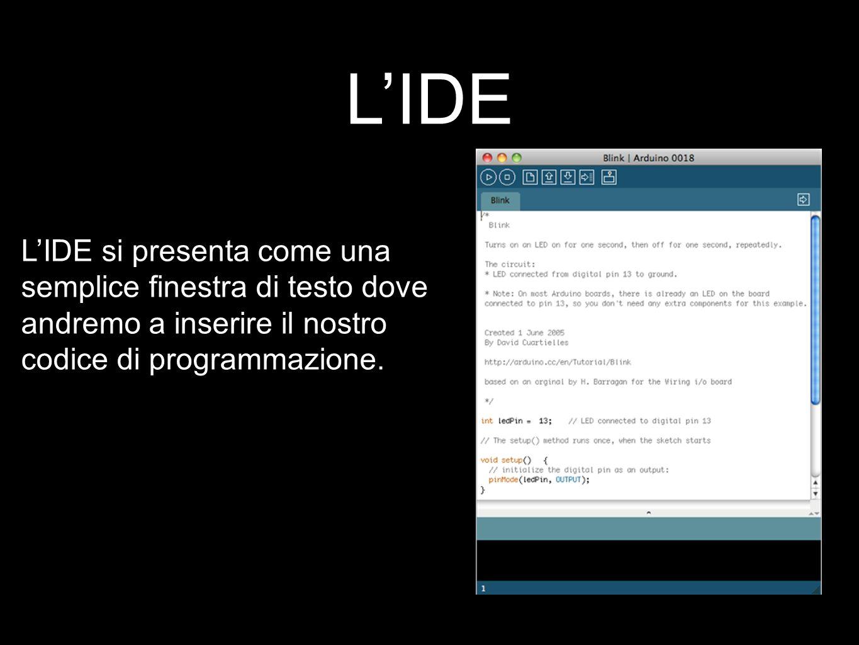 L'IDE L'IDE si presenta come una semplice finestra di testo dove andremo a inserire il nostro codice di programmazione.