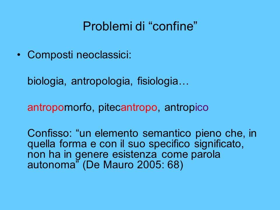 Problemi di confine Composti neoclassici: