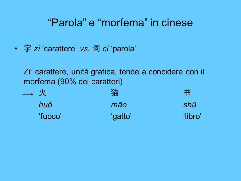 Parola e morfema in cinese