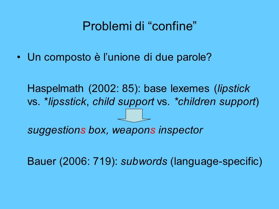 Problemi di confine Un composto è l'unione di due parole