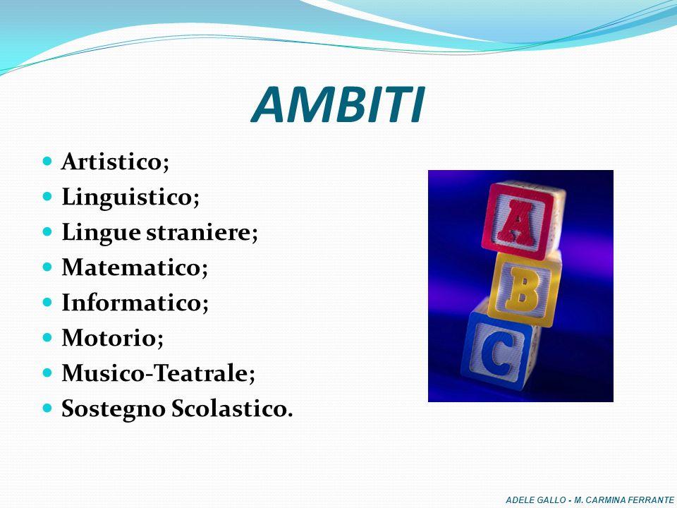 AMBITI Artistico; Linguistico; Lingue straniere; Matematico;