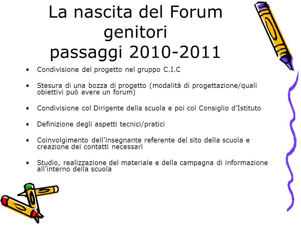 La nascita del Forum genitori passaggi 2010-2011
