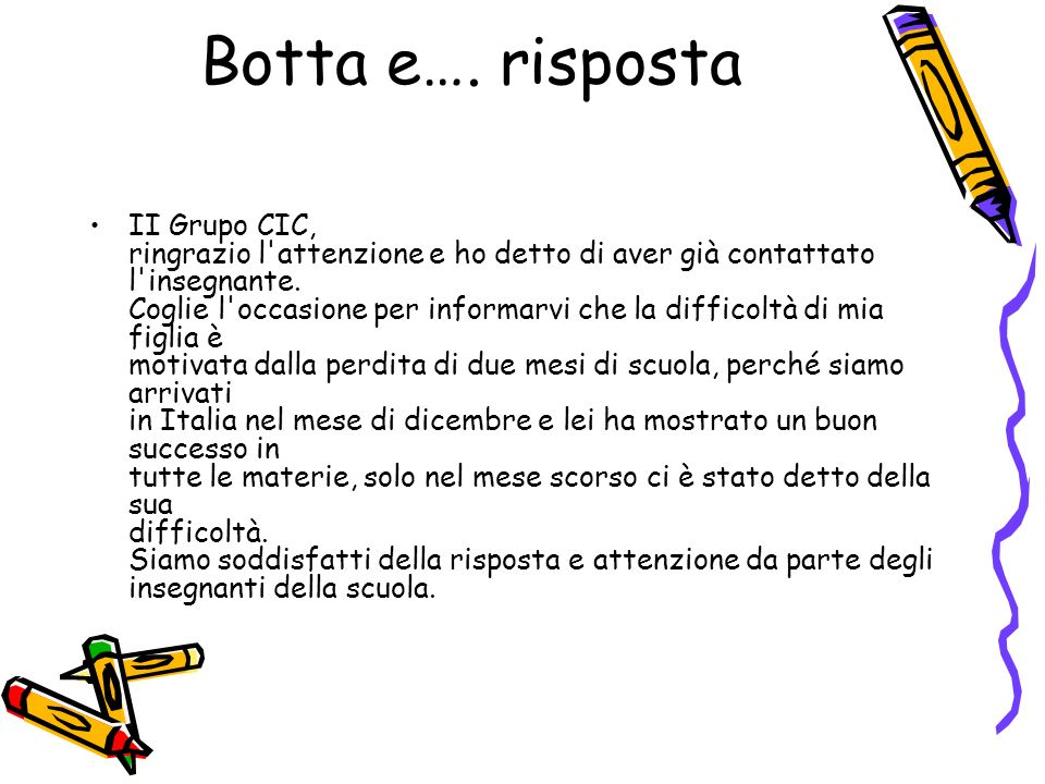 Botta e…. risposta