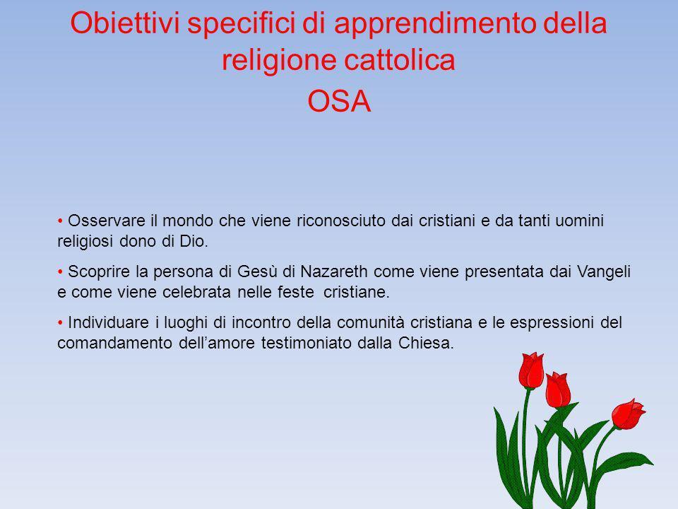 Obiettivi specifici di apprendimento della religione cattolica OSA