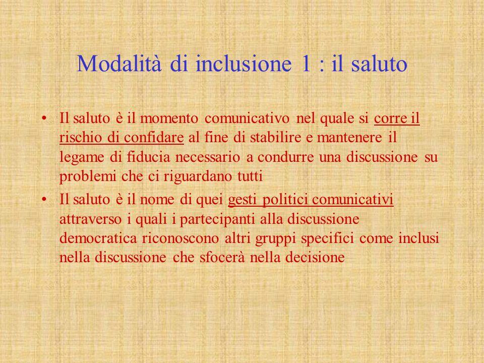 Modalità di inclusione 1 : il saluto