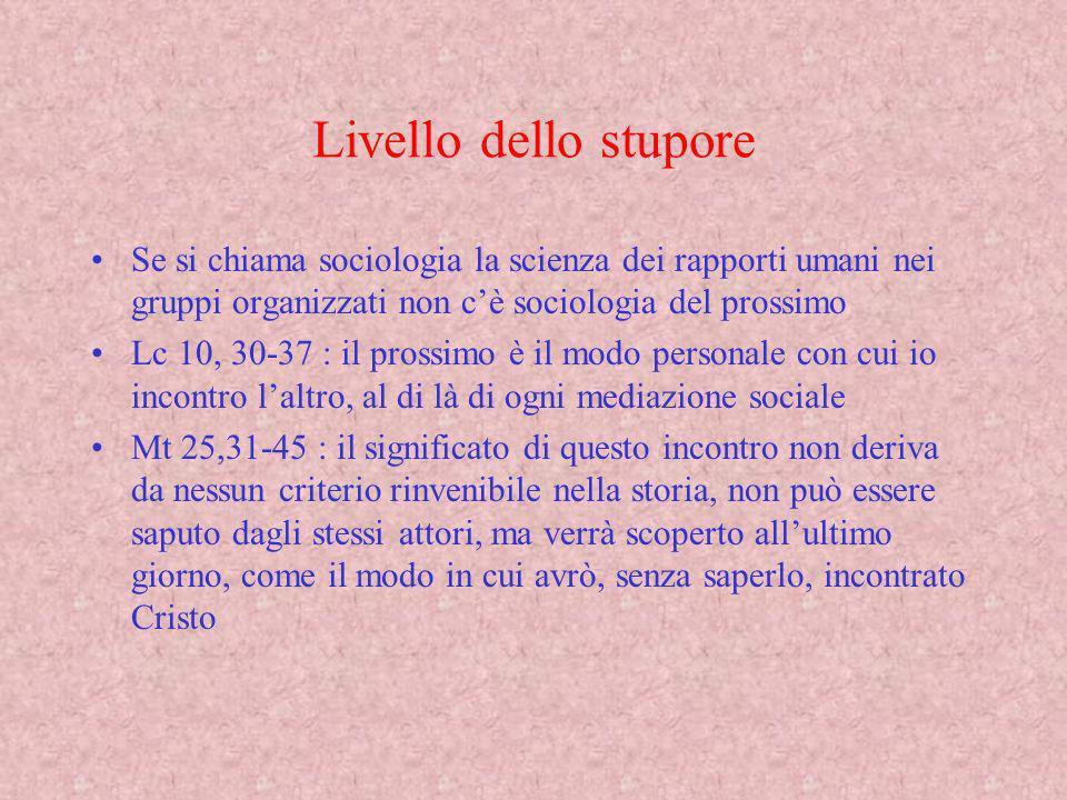 Livello dello stupore Se si chiama sociologia la scienza dei rapporti umani nei gruppi organizzati non c'è sociologia del prossimo.